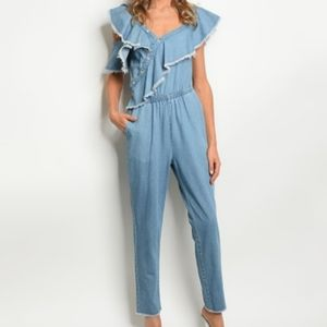 Signature8 Denim Chambray Ruffled Jumpsuit SizeM